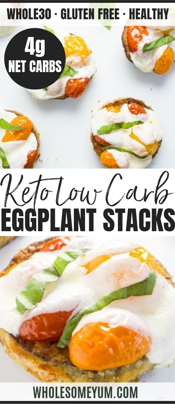Eggplant Stacks with Tomatoes & Mozzarella - Pinterest image