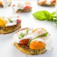 Balsamic Tomato Eggplant Sliders (Low Carb, Gluten-free) - These crispy and juicy tomato mozzarella eggplant sliders are low carb and gluten-free. Delicious and colorful, yet so easy to make!