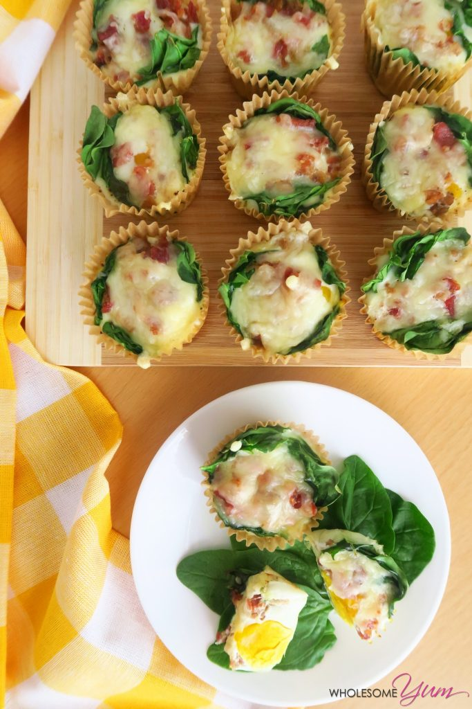 Low Carb Egg Muffins Recipe with Spinach & Cheese (Gluten-free) - This low carb egg muffins recipe makes the perfect grab and go low carb breakfast! Quick and easy to make, with only 5 ingredients.
