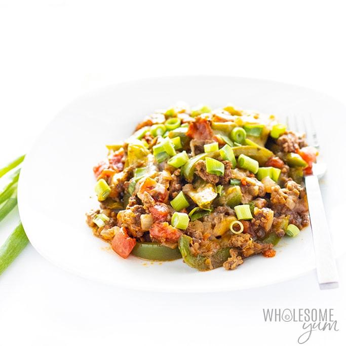 Keto taco skillet on a plate