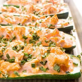 Buffalo Chicken Zucchini Boats (Low Carb, Gluten-free) - These buffalo chicken zucchini boats are spicy, savory, low-carb, and gluten free. A perfect single-pan dinner that's so many great things in one.