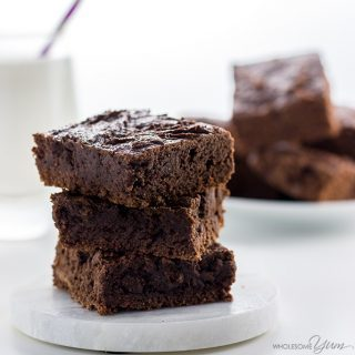 These easy, fudgy low carb brownies are made with almond butter and completely flourless. Naturally paleo, gluten-free & made with 7 simple ingredients.