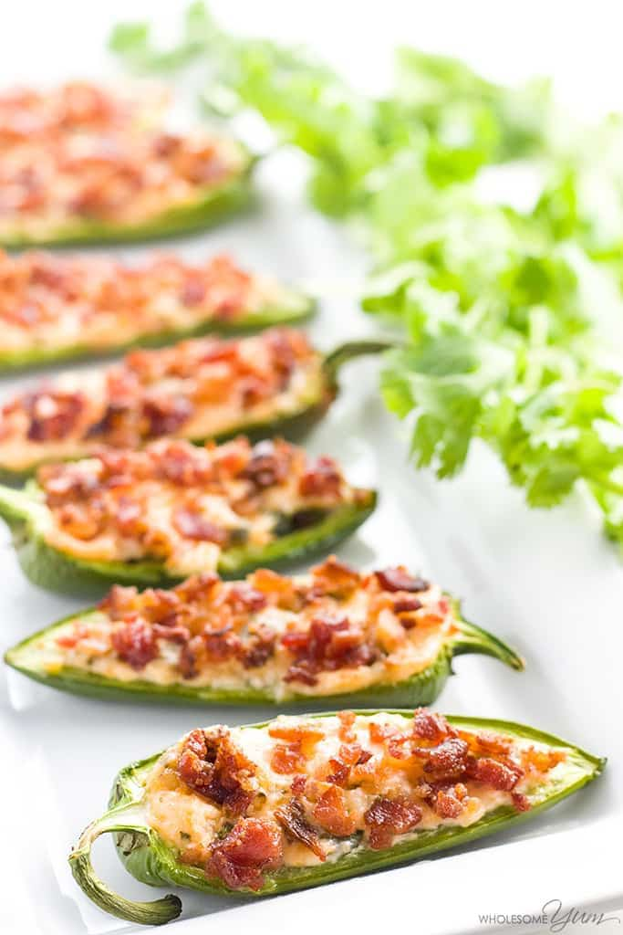 keto jalapeno poppers with bacon bits on top