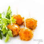 keto buffalo chicken meatballs on a plate