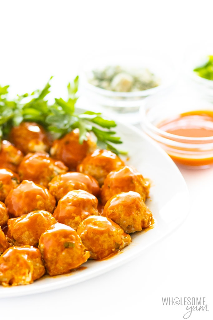 platter of buffalo chicken meatballs