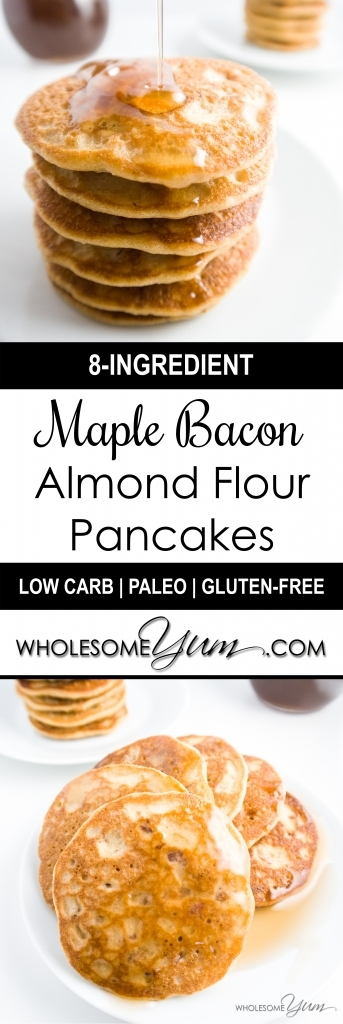 These low carb maple bacon pancakes with almond flour are aromatic and delicious. You'll never know they're sugar-free, paleo, and gluten-free!