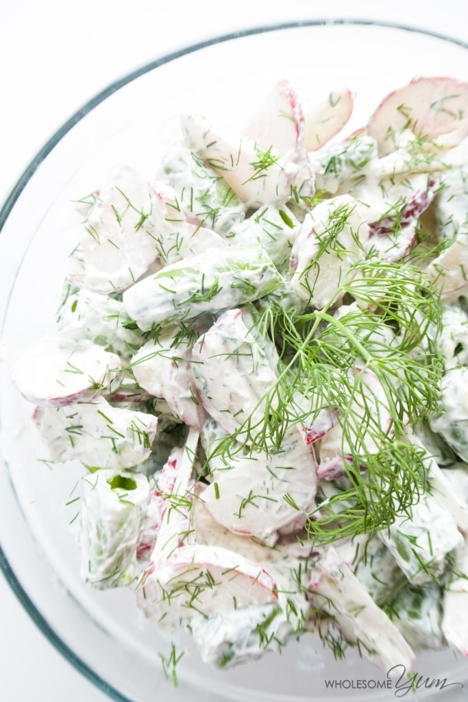 Sugar Snap Pea Radish Salad with Sour Cream Dill Dressing (Low Carb, Gluten-free) - This refreshing sugar snap pea radish salad is prepared with a creamy gluten-free sour cream dill dressing.