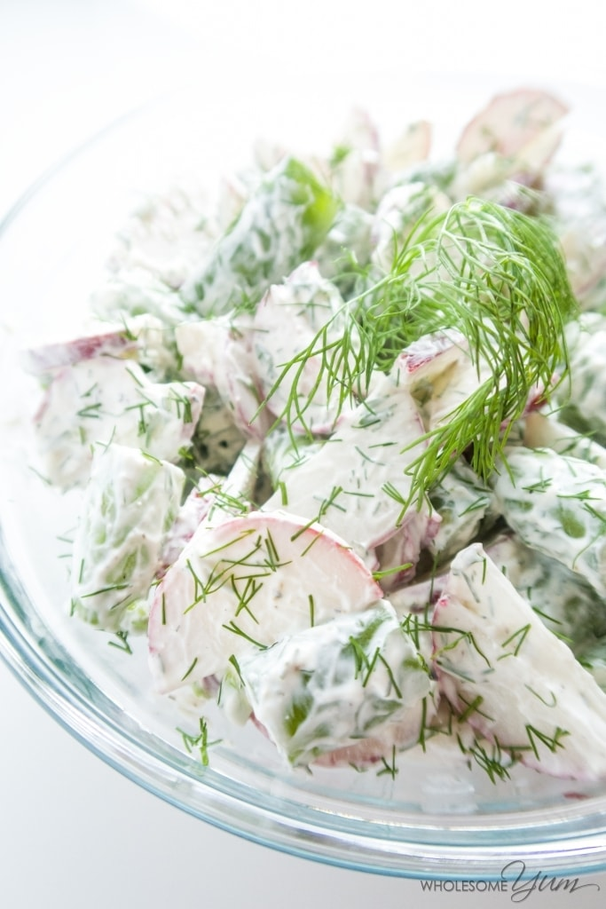 Sugar Snap Pea Radish Salad with Sour Cream Dill Dressing (Low Carb ...