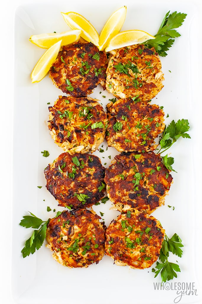 crab cakes on a serving platter