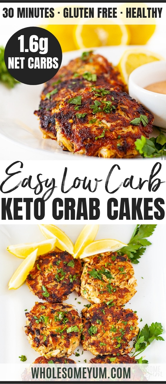 Gluten Free Low Carb Crab Cakes - Paleo - Pinterest Image