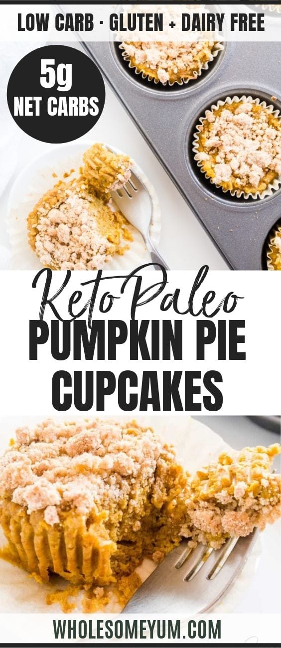 Pumpkin Pie Cupcakes with Crumble Topping - Pinterest image