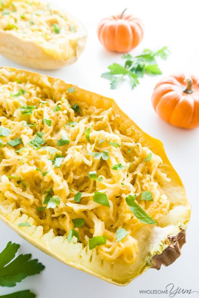 Pumpkin Parmesan Spaghetti Squash (Low Carb, Gluten-free) - This spaghetti squash is smothered with a delectable pumpkin parmesan cream sauce. Low carb and gluten-free.