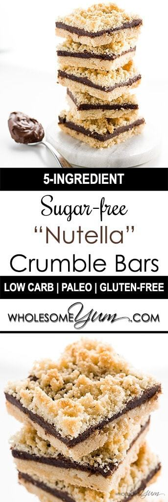5-Ingredient Sugar-free Nutella Bars (Low Carb, Paleo) - These rich, buttery sugar-free Nutella bars are paleo, low carb, and made with only five ingredients. But you'll never believe it when you taste them!