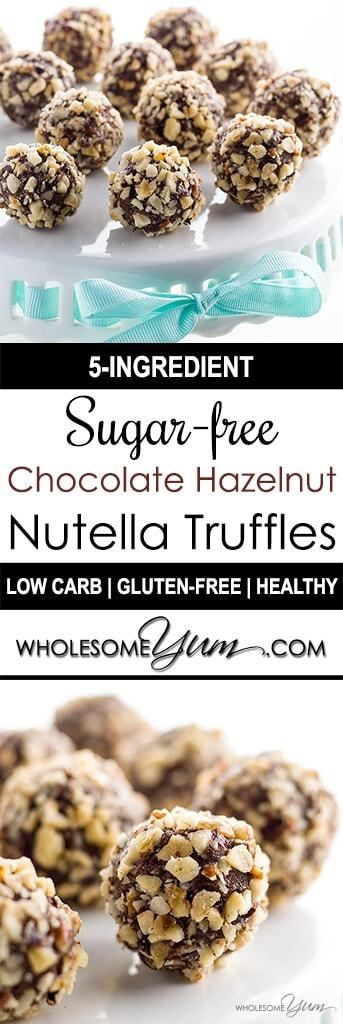 A super easy Nutella truffles recipe! These sugar-free, gluten-free, & low carb chocolate truffles taste like Nutella & have a crunchy hazelnut coating.