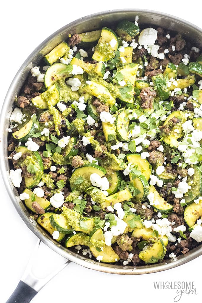 ground beef and zucchini stir fry in pan