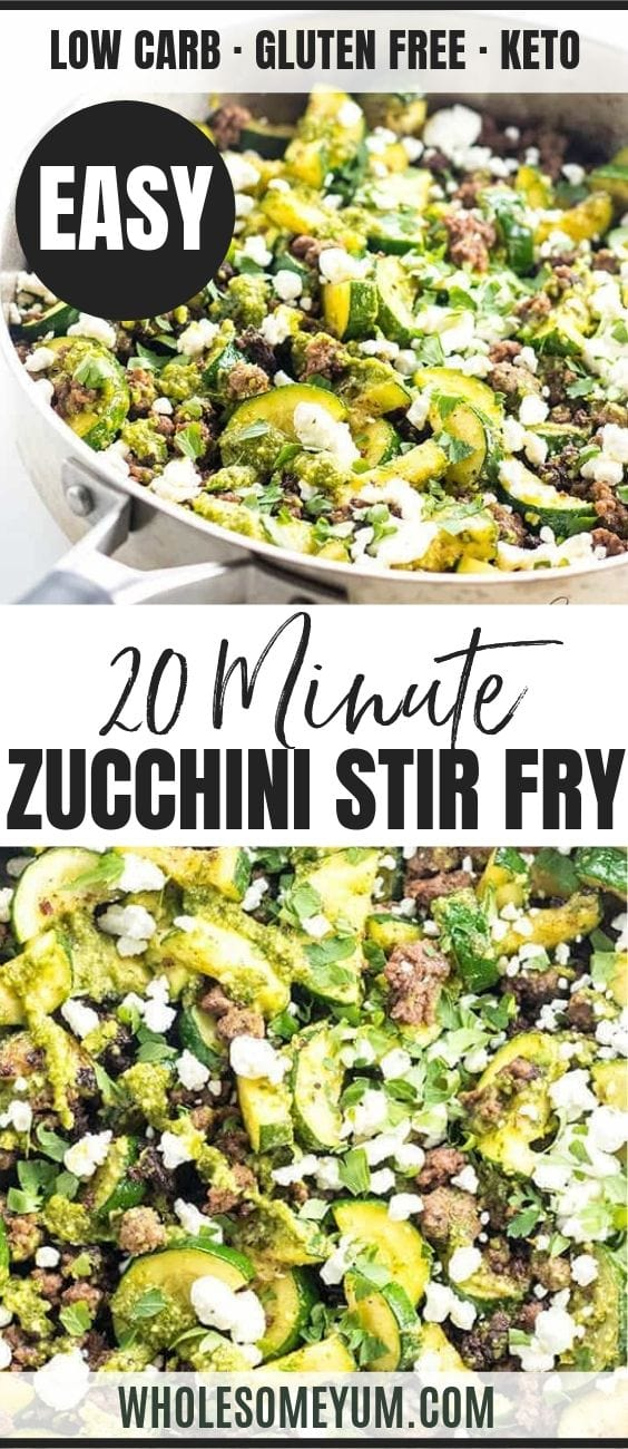 Zucchini Stir Fry with Beef and Pesto - Pinterest image