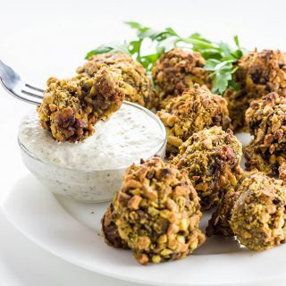 Crumbed Mushrooms Recipe w/ Pistachios & Caper Dip (Paleo, Low Carb) - This baked crumbed mushrooms recipe has a pistachio crumb coating & only 4 ingredients! Pair it with creamy caper dip. Naturally paleo, low carb & healthy.
