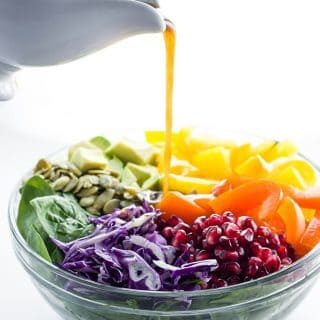Rainbow Salad Recipe with Pomegranate Vinaigrette (Paleo, Low Carb) - This easy and healthy rainbow salad recipe with pomegranate vinaigrette is so quick to make. Only 10 ingredients including the dressing!