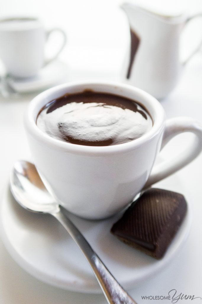 Fancy Low Carb Hot Chocolate (Sugar-free, Gluten-free) - This 5-ingredient recipe is more than just low carb hot chocolate; it's thick, decadent sipping chocolate. But it's still sugar-free, gluten-free & low carb.