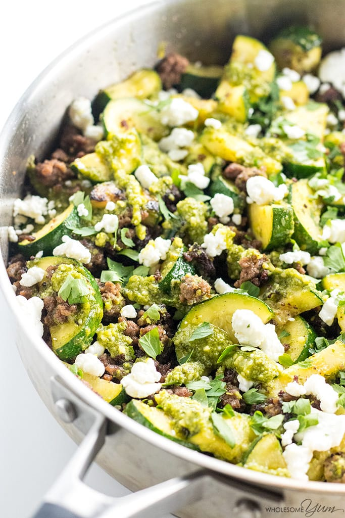 Zucchini Stir Fry with Beef & Pesto (Low Carb, Gluten-free) - This easy zucchini stir fry recipe with beef and pesto requires just a few simple ingredients and comes together in only 20 minutes. Low carb & gluten-free!