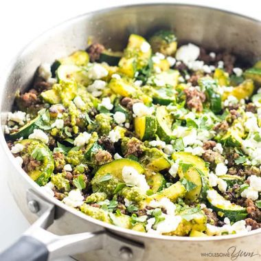 Zucchini Stir Fry with Beef & Pesto (Low Carb, Gluten-free)