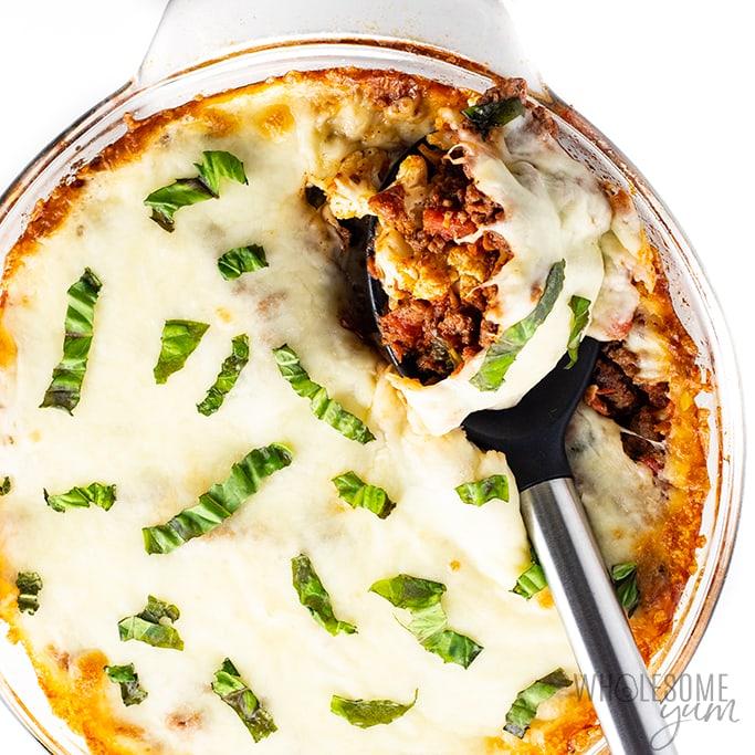 ground beef and cauliflower casserole lasagna in baking dish