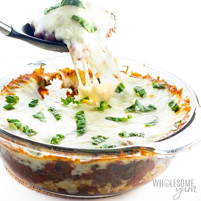 scoop of cauliflower lasagna