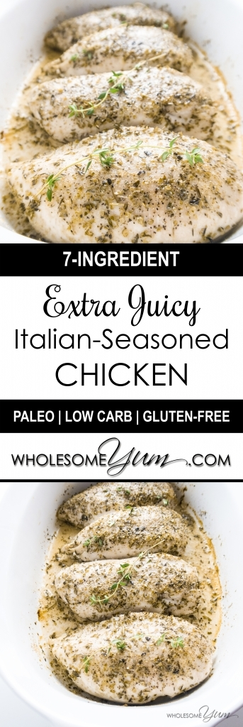 Juicy Baked Chicken Breast Recipe: The Best Way To Bake Chicken - Simply the BEST way to bake chicken breast in the oven! This juicy baked chicken breast recipe at 450 degrees is fast, easy, and will be the most delicious chicken you've ever had. Naturally low carb, paleo and gluten-free.