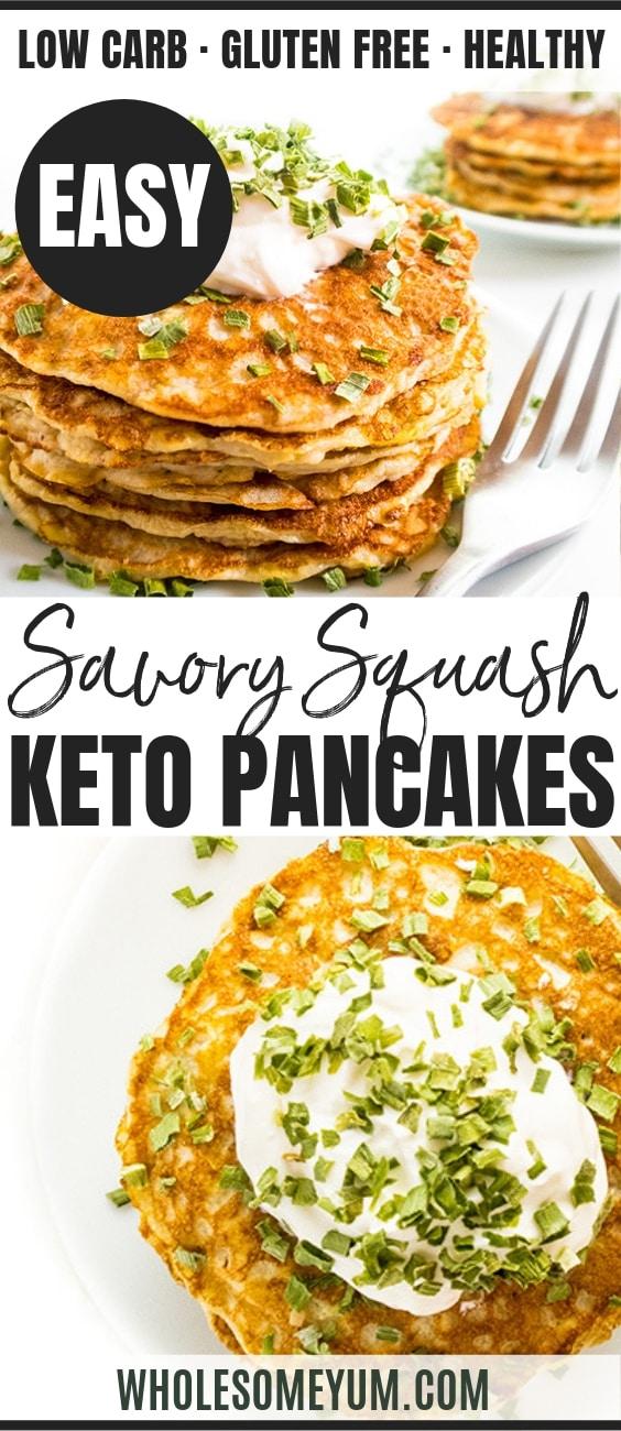 Healthy Keto Zucchini Pancakes Recipe - Pinterest Image
