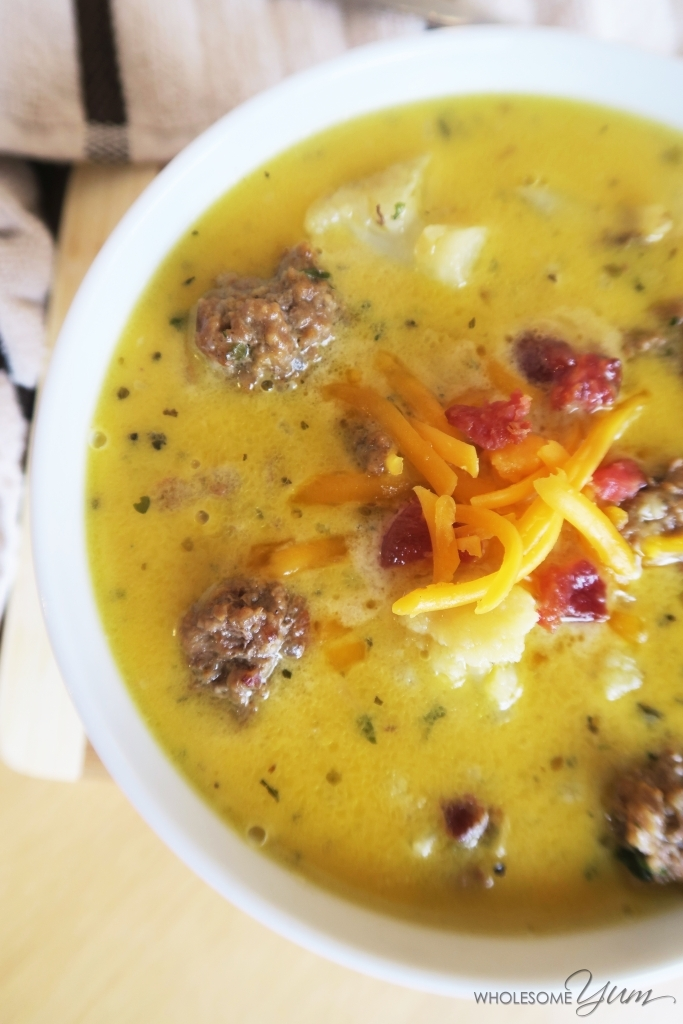 Bacon Cheeseburger Soup (Low Carb, Gluten-free) - This rich, comforting soup tastes like a bacon cheeseburger in a bowl. Low carb and gluten-free.