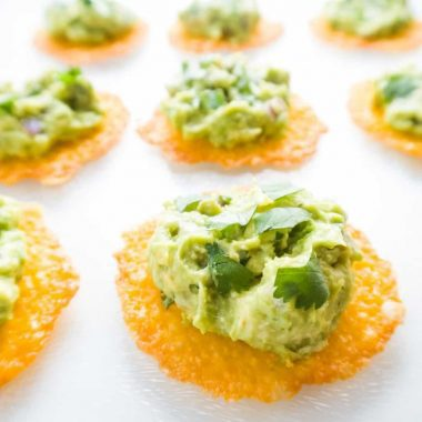 Cheese Chips with Chipotle Copycat Guacamole (Low Carb, Gluten-free)