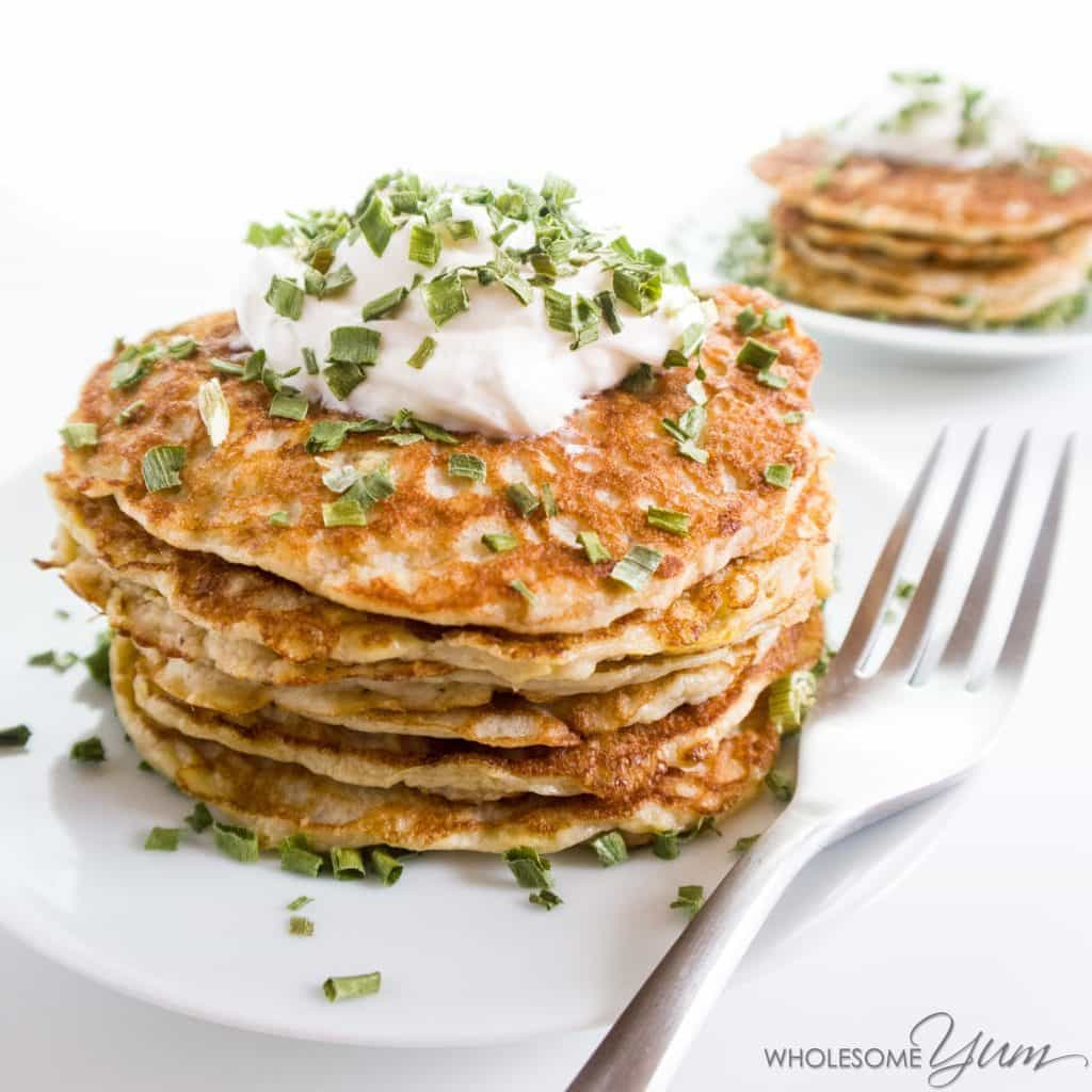 Savory Squash Kefir Pancakes (Low Carb, Gluten-free) - These savory squash pancakes are extra fluffy, thanks to kefir in the batter, and they happen to be low carb and gluten-free.