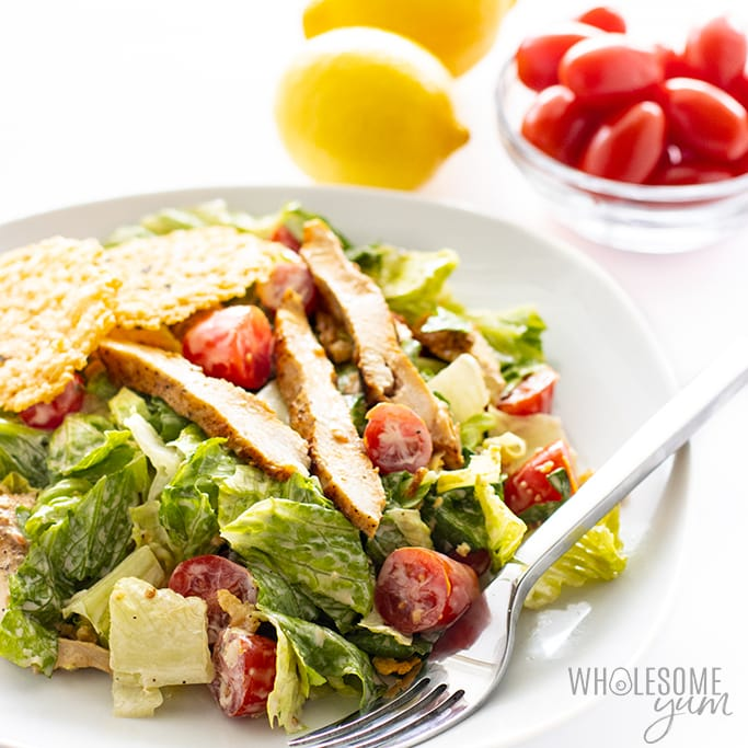 Low Carb Keto Caesar Salad Recipe With Chicken Wholesome Yum