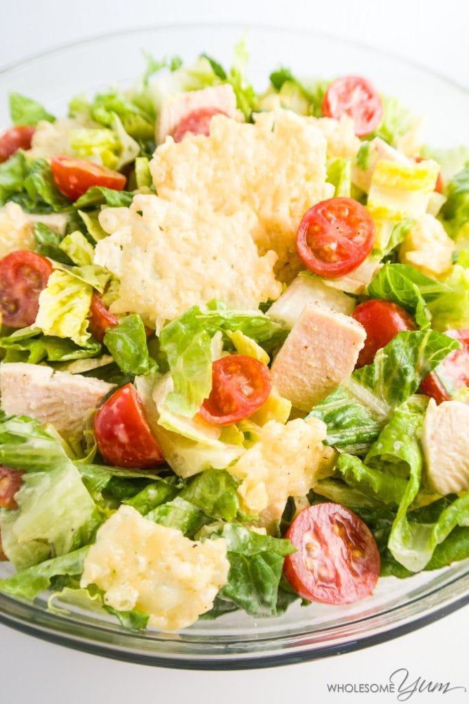 Chicken Caesar Salad with Parmesan Crisps (Low Carb, Gluten-free)
