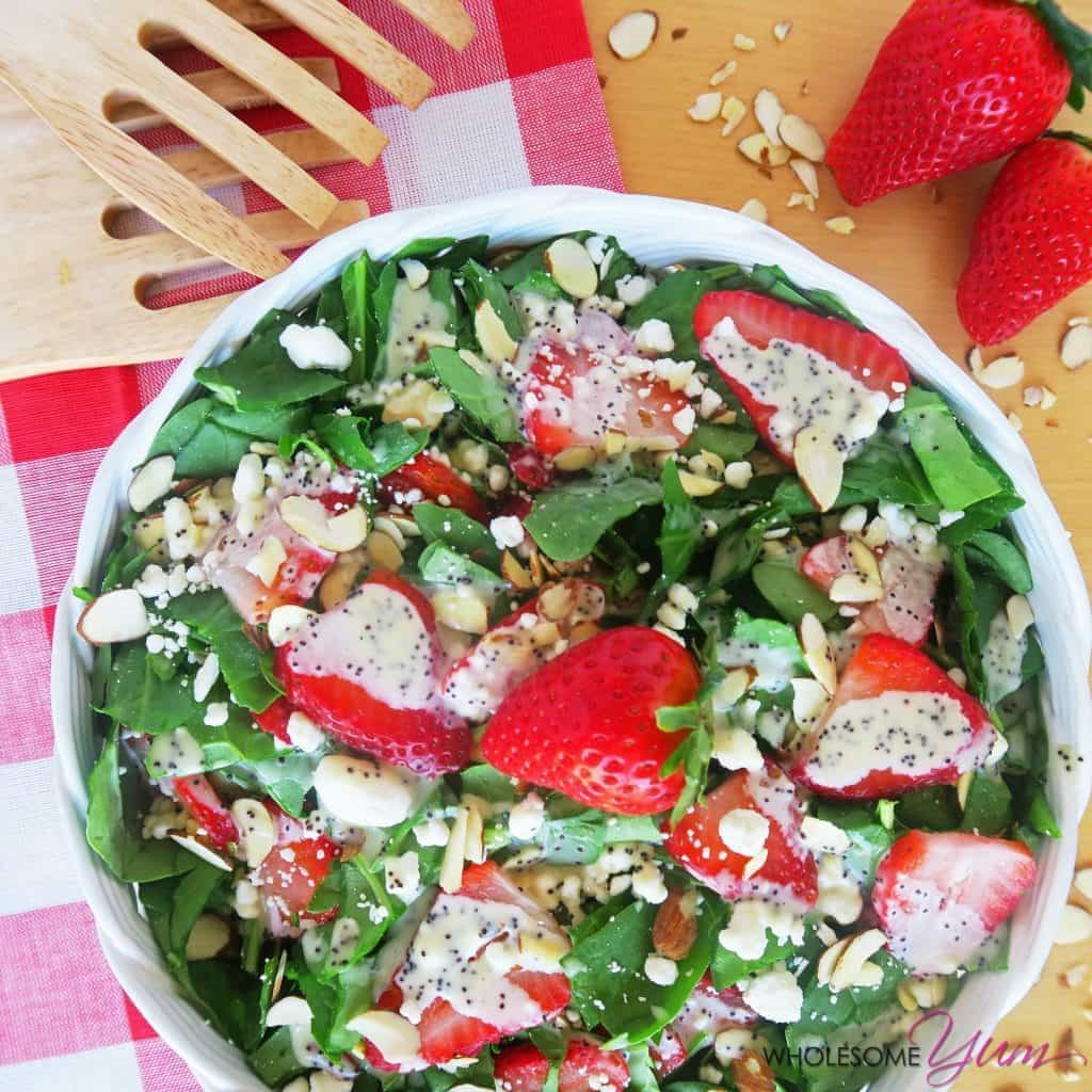 Strawberry Spinach Salad with Poppy Seed Dressing (Low Carb, Gluten-free)