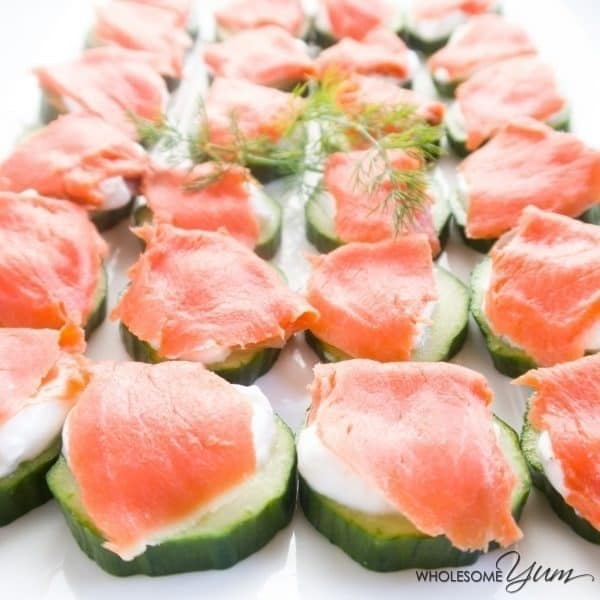 original photo of smoked salmon cucumber platter with Greek yogurt