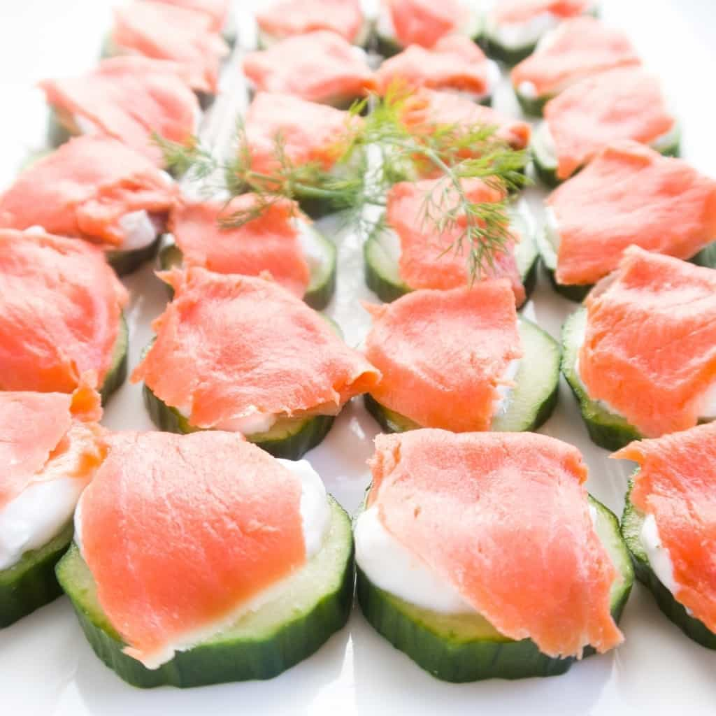 Smoked Salmon Platter Cucumber Bites (Low Carb, Gluten-free) - This smoked salmon platter of cucumber bites is the perfect app for any occasion. Can't go wrong with this easy smoked salmon appetizer recipe!