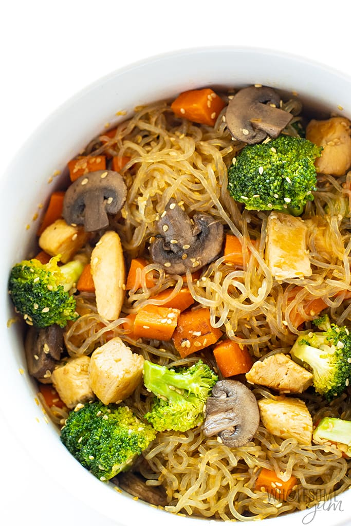 Asian kelp noodles stir fry