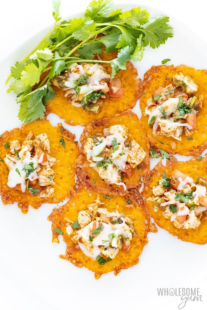 Keto nachos on a plate with cilantro