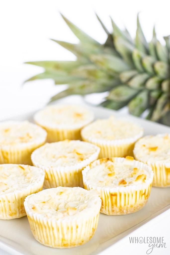 pineapple cheesecake on platter