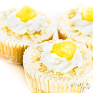 Keto Piña Colada Cheesecake Cupcakes Recipe