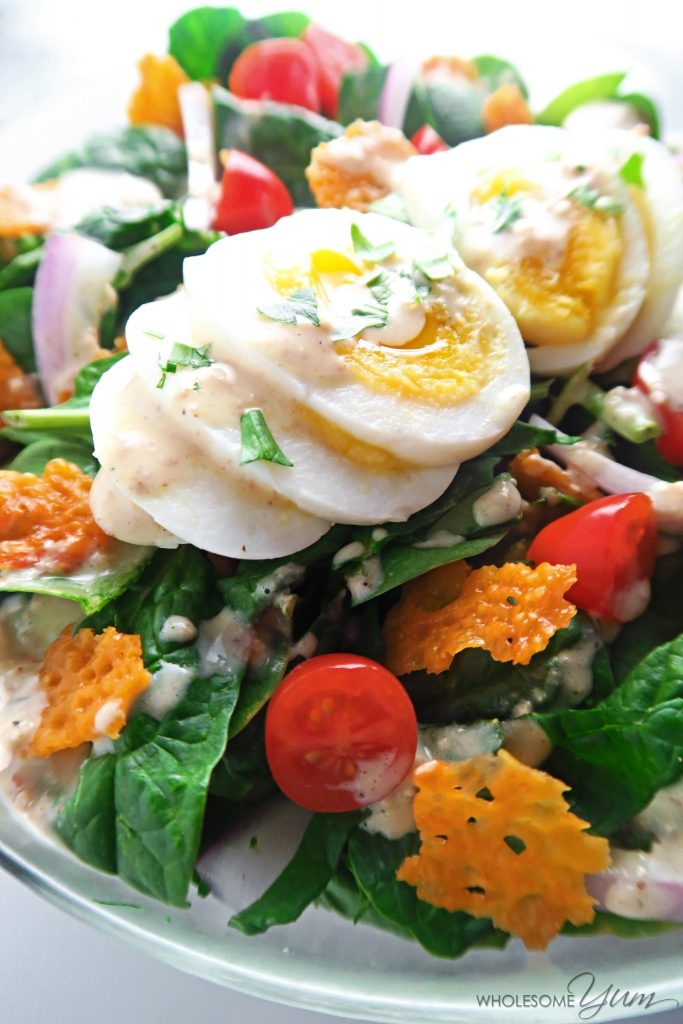 Bacon Dijon Spinach Salad with Cheddar Crisps (Low Carb, Gluten-free)