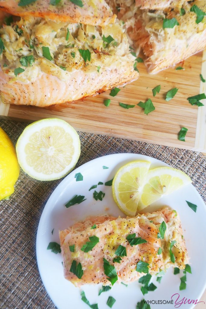This crab stuffed salmon recipe with lemon butter is the perfect paleo, low carb entree – fancy looking & delicious, yet easy to make. Only 10 ingredients!