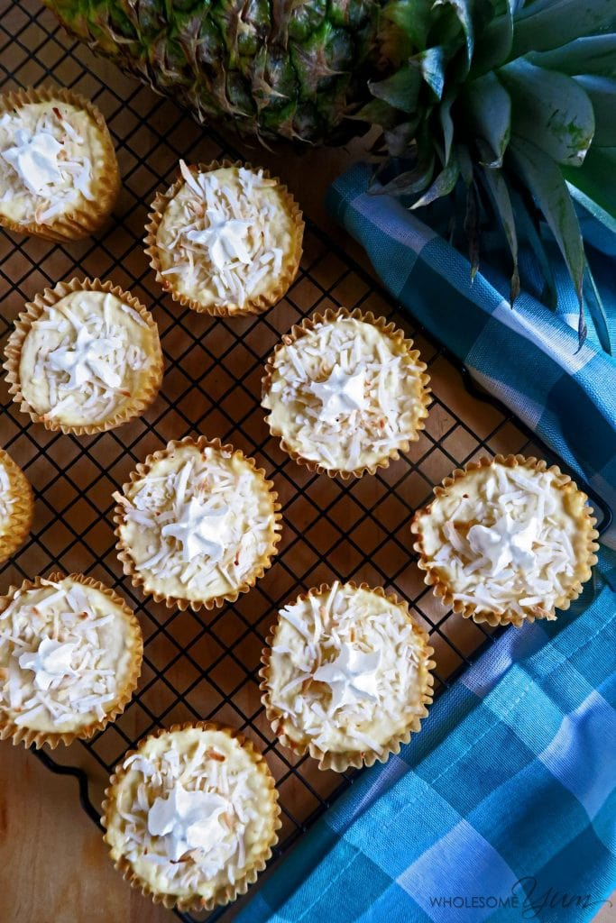 Pina Colada Cheesecake Cupcakes (Low Carb, Gluten-free)