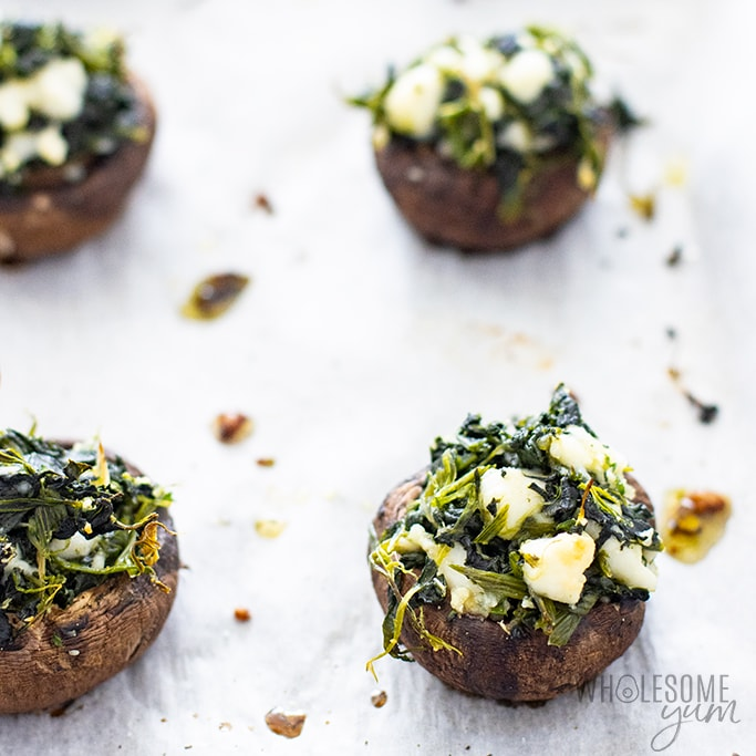 low carb stuffed mushrooms - fully baked