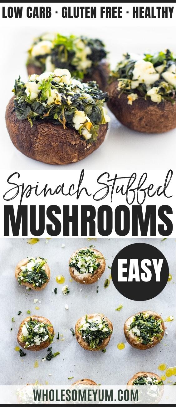 spinach stuffed mushroom recipe - pinterest