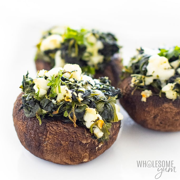 Spinach stuffed mushrooms close-up image