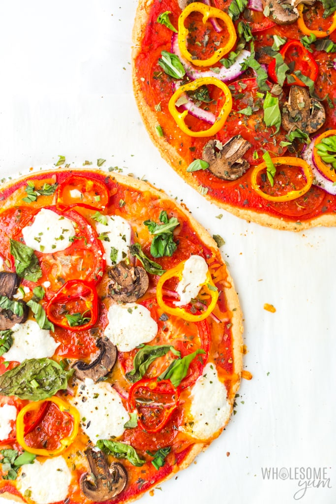 two low carb pizza crusts with toppings