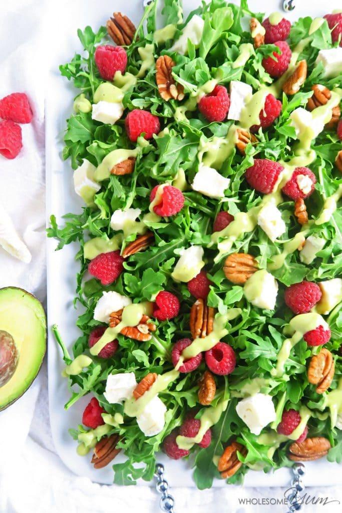 Raspberry Brie Salad with Creamy Avocado Dressing (Low Carb, Gluten-free)