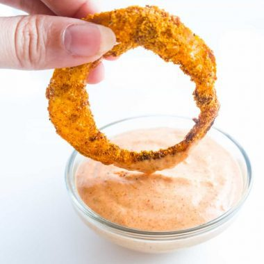 A low carb dip that's paleo & gluten-free, too! This spicy low carb dipping sauce is perfect for all kinds of appetizers, especially onion rings.